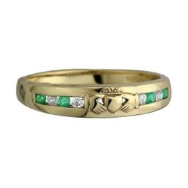 8-Stone-Claddagh-Eternity-Ring-10kt-Gold-S2513
