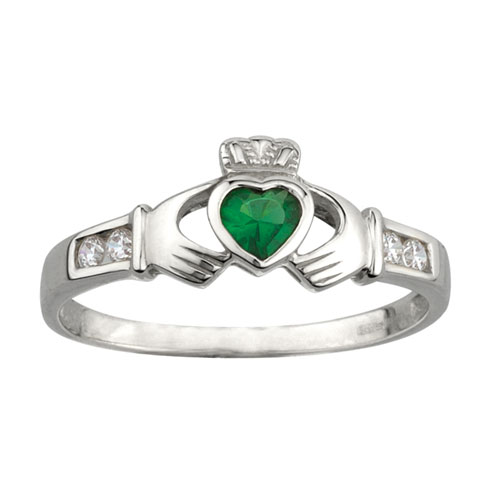 Claddagh Ring with Synthetic Emerald Sterling Silver S2594