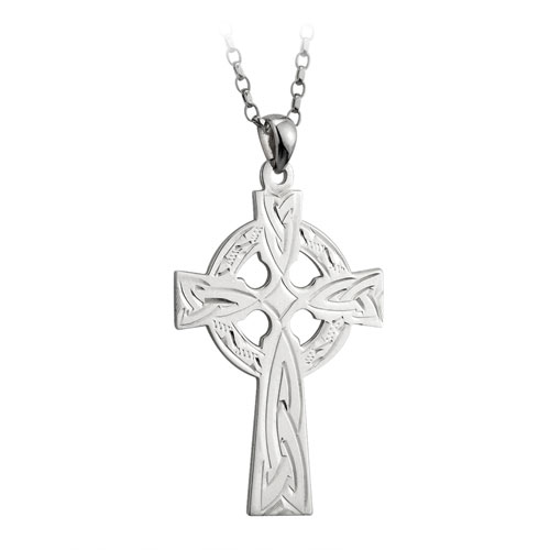 Engraved Celtic Cross Sterling Silver S4731