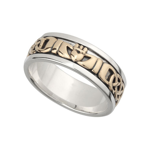 Gents Claddagh Band with Celtic Knot SS & 10kt Gold S21008