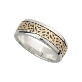 Gents Trinity Knot Ring SS & 10kt Gold S21010
