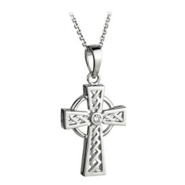 Celtic Cross with Diamond 14kt White Gold S44043