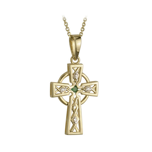 Celtic Cross with Emerald & Diamonds 14kt Yellow Gold