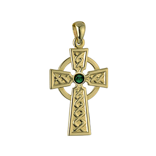 Celtic Cross with Synthetic Emerald 18kt Gold Plated S4897
