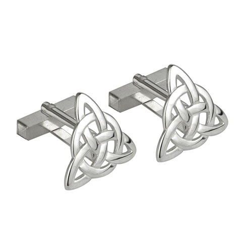 Celtic Knot Cufflink Rhodium Plated S6449