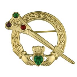 Claddagh Brooch Crystals & Celtic Knot Accents Gold Plated S1636