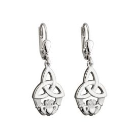 Claddagh Large Trinity Knot Earrings Sterling Silver S33148