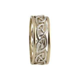 Eternal Celtic Knot Ring Large SS & 10kt Gold KELGS3L