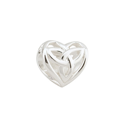 Heart with Trinity Knot Celtic Bead Sterling Silver S80092
