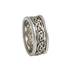 Open Weave Eternal Knot Ring w Rails Narrow 14kt Gold