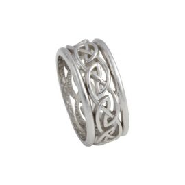 Open Weave Eternal Knot Ring w Rails Wide 14kt Gold