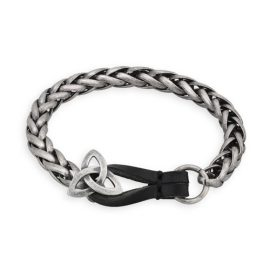 Snake Link Bracelet with Trinity Knot Clasp Pewter S5814