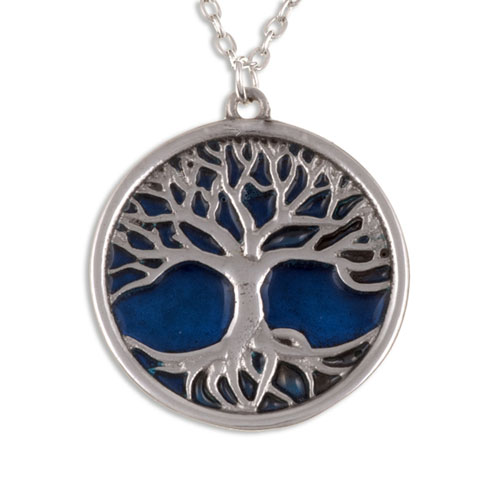 Tree of Life Pendant Blue Enamel Pewter PN842