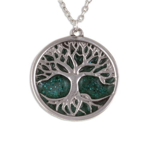 Tree of Life Pendant Green Enamel Pewter PN843