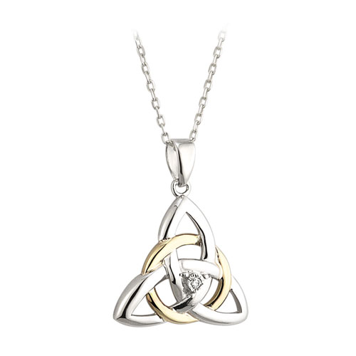 Trinity Knot Pendant Diamond Accent Sterling Silver 10kt Gold S45345