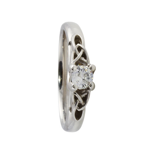Trinity Knot Solitaire Diamond Ring 14kt Gold