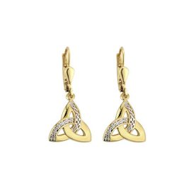 Trinity Knot Drop Earrings Two Toned Gold Plated S33250