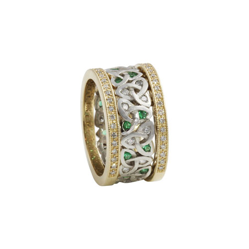 Platinum Diamond Emerald 14kt Gold Ring