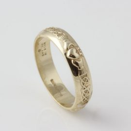 Claddagh Ring with Celtic Knot 14kt Yellow Gold