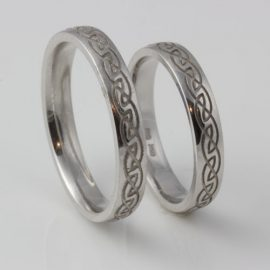 Engraved Eternal Knot Set 10kt White Gold
