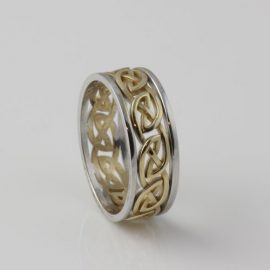 Eternal Knot Ring 10kt Yellow Gold Silver Rails