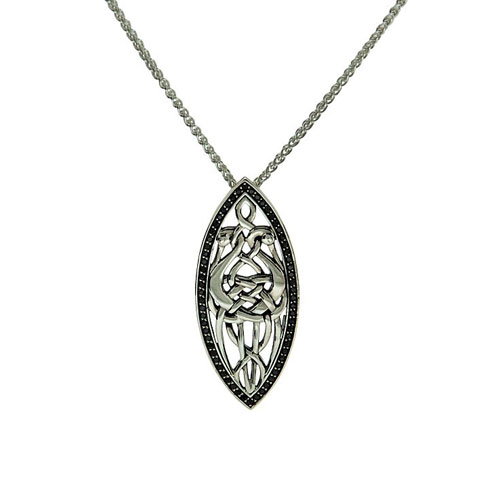 Heron Pendant with Black Cubic Zirconia Sterling Silver PPS7405