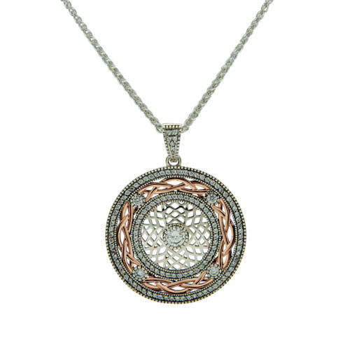 Warrior Shield Pendant CZ SS10kt Rose Gold PPX8381-3