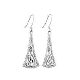 Stylized Trinity Knot Earrings CZ Accent Sterling Silver S33948
