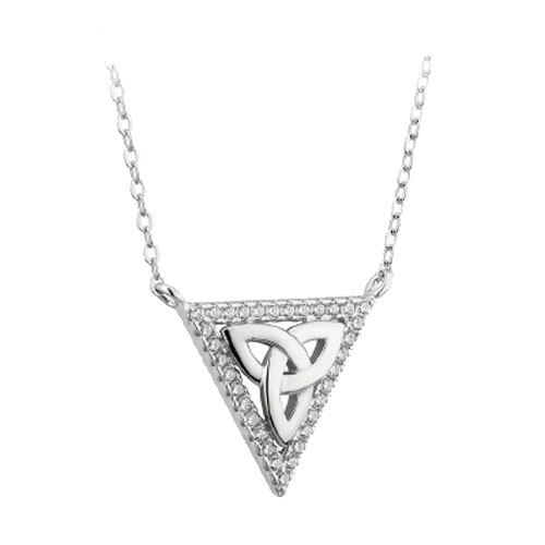 Triangle Trinity Knot Pendant CZ Accent Sterling Silver S46345